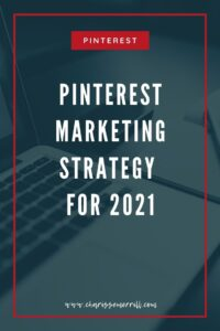 """Image of computer with words """"Pinterest marketing strategy for 2021"""""""